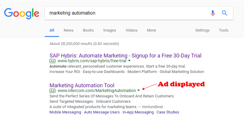 Google search ad for landing page