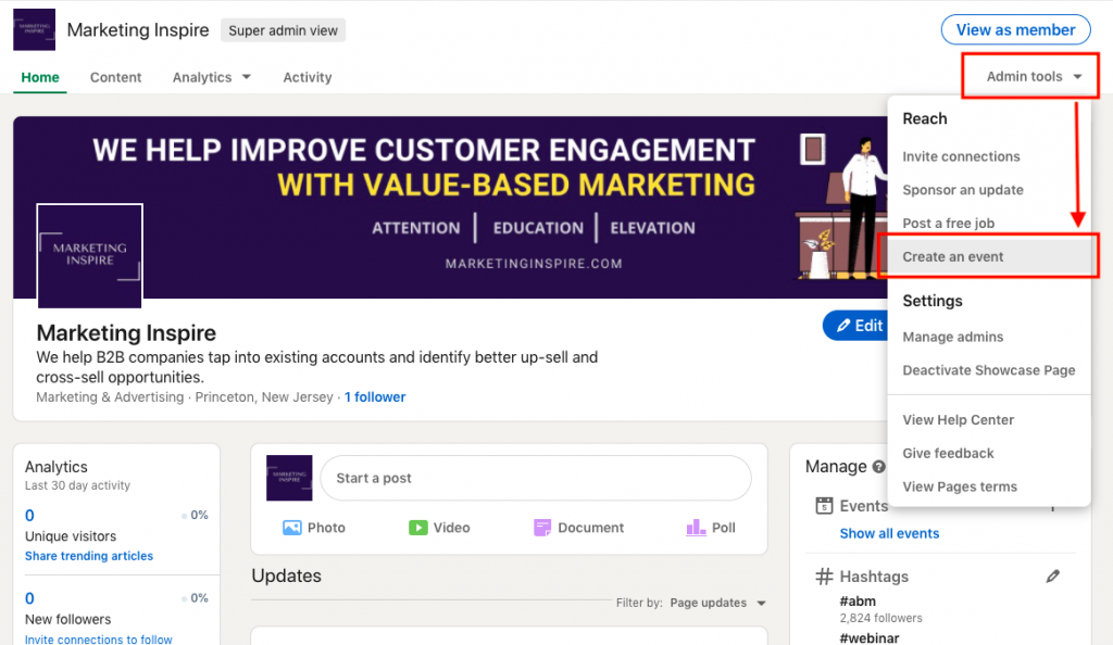promote webinar on linkedin by creating an even page