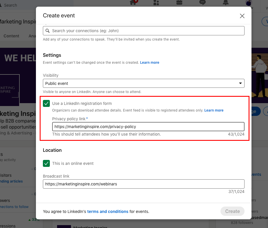how to download leads from linkedin on an event page