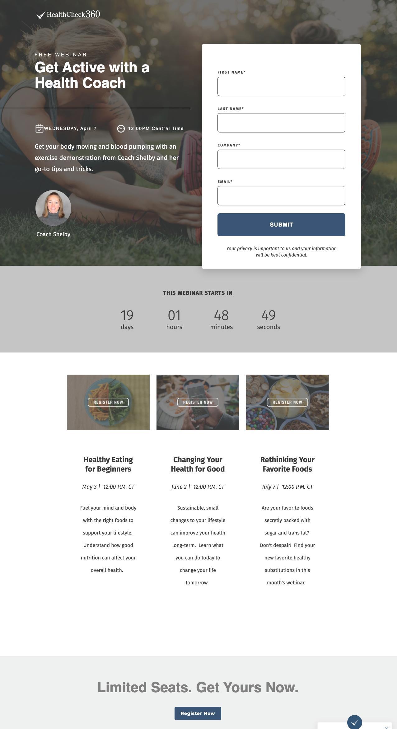 Health check webinar landing page example