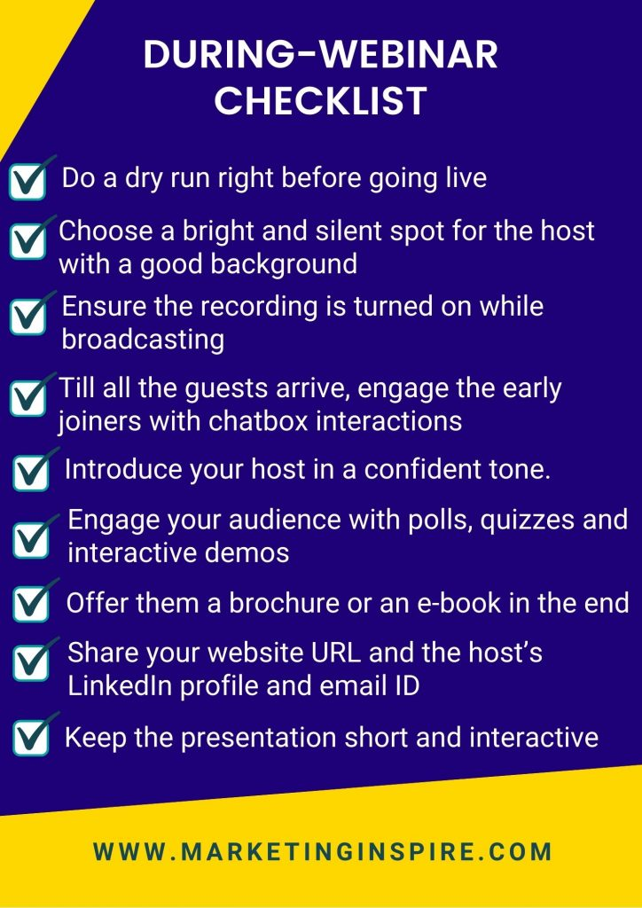 this checklist has the best practices to follow during conducting a webinar