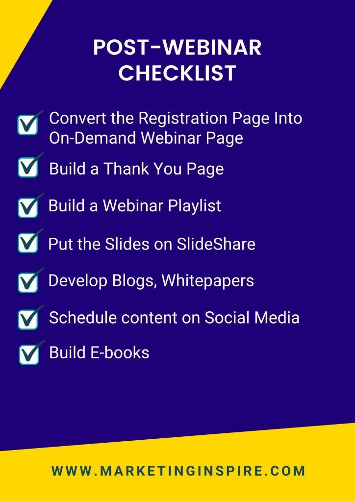 this checklist has the best practices to follow before after a webinar is over