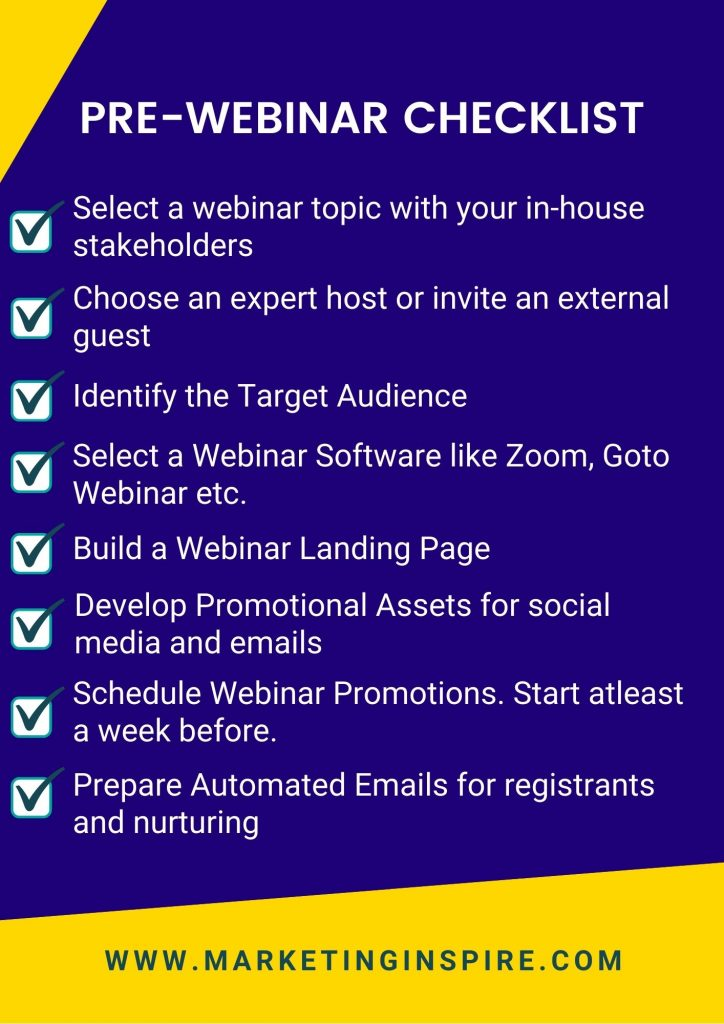 this checklist has the best practices to follow before organizing a webinar